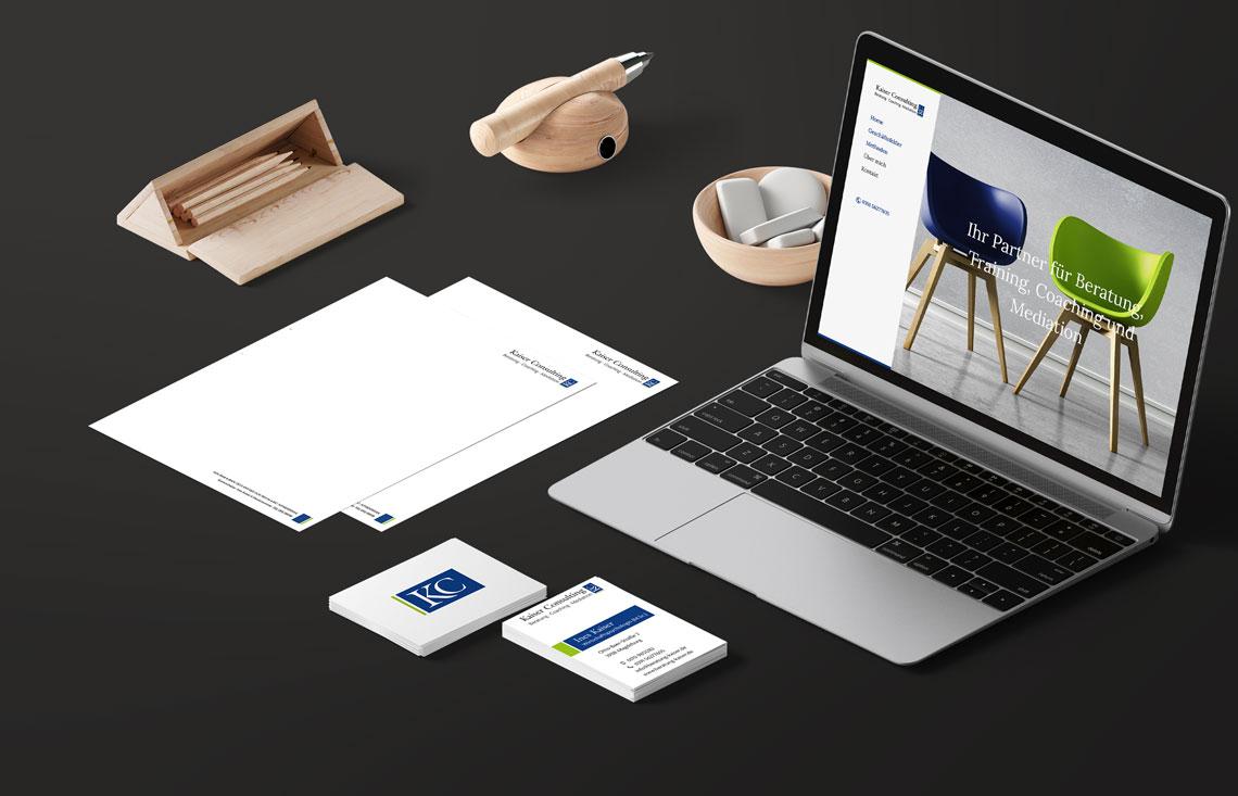Briefbogen, Visitenkarte, Website